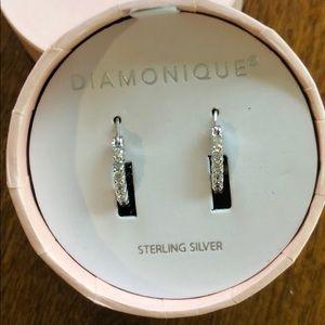 New DIAMONIQUE Sterling small hoop earrings